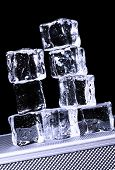 picture of ice-cubes  - Ice cubes on freezer tray - JPG