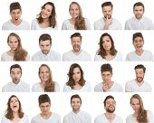 stock photo of facials  - set of different male and female faces - JPG