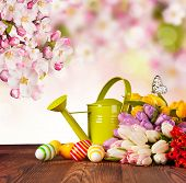 Bouquet of colored tulips on wooden planks with Easter eggs on blur abstract background