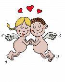 image of ero  - Cartoon drawing of 2 angels in love - JPG
