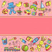 Card With Children Toys Pink