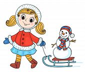 The Happy Girl In Winter Clothes With Snowman.