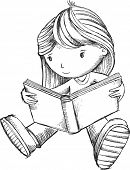picture of sketch book  - Girl Reading Book Sketch Vector Illustration Art - JPG