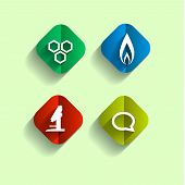 ducation Chemistry, Set flet bright icons.