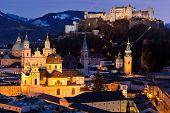 austria, land salzburg, salzburg at night.