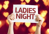 Ladies Night card with heart bokeh background