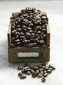 roasted coffee bean in the wooden container