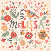 Bright card with beautiful name Melissa in poppy flowers, bees and butterflies. Awesome female name design in bright colors. Tremendous vector background for fabulous designs