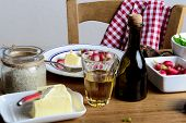 foto of radish  - radish dish with a glass of cider on old table - JPG