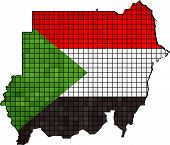 Sudan map with flag inside