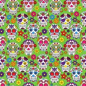 foto of day dead skull  - Day of the Dead Sugar Skull Seamless Vector Background - JPG