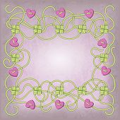 stock photo of macrame  - Card with frame of ropes knots and beads in the shape of heart - JPG