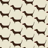 stock photo of dachshund  - Seamless Christmas dachshund pattern with repeating cute brown dachshund wearing red nose on beige background - JPG