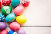 Easter symbols on white background