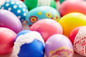 Variety of Easter painted eggs