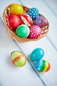 Basket with creative symbols of Easter