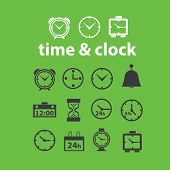 time, clock, minutes isolated design flat icons, signs, illustrations vector set on background