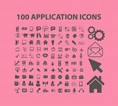 100 application, mobile, smartphone, interface isolated design flat icons, signs, illustrations vector set on background
