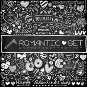 Chalk board romantic doodle set