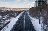 Cars On The Don Valley Parkway During The Winter