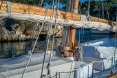 foto of mast  - Retro sailing boat mast and deck details - JPG