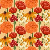 Floral seamless patterns with roses, chamomile and other flowers