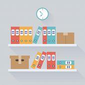 Shelf Archive Storage Background, Flat Trendy Vector Illustration