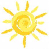 Isolated Cute Crayon Sun, Vector Image