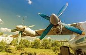Turbines Of Turboprop Aircraft At An Abandoned Aerodrome In Sunny Day