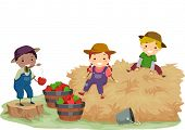 Illustration of Stickman Kids Playing With Hay and Apples