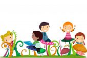stock photo of playmates  - Illustration of Stickman Kids Playing With Mushrooms - JPG