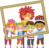 image of stickman  - Illustration of Stickman Kids Taking a Photo With Their Teacher - JPG