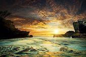 The sea at the Tanah Lot temple, in Bali island, indonesia