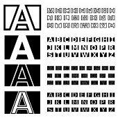 vector square contour font alphabets