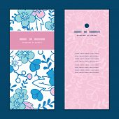 Vector blue and pink kimono blossoms vertical frame pattern invitation greeting cards set