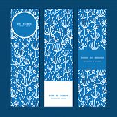 Vector blue white lineart plants vertical banners set pattern background