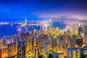 Hong Kong, China skyline at night.
