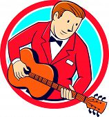 foto of guitarists  - Illustration of a musician guitarist playing guitar set inside circle on isolated background done in cartoon style - JPG