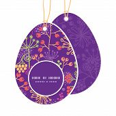 Vector colorful garden plants Easter egg shaped tags set template