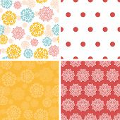 Vector abstract decorative circles stars set of four marching repeat patterns backgrounds