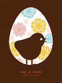 Vector abstract decorative circles stars chicken silhouette Easter frame