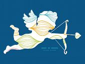 Vector colorful horizontal ogee shooting cupid silhouette frame pattern invitation greeting card tem