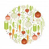 Healthy vegetables. Round design element on white background