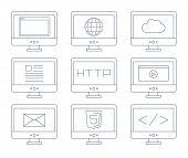 Internet icon set, simple flat grey line contour