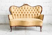 Brown Retro classical style sofa couch in vintage room