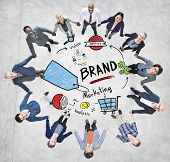 Diverse People Aerial View Holding Hands Brand Concept