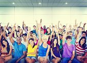 picture of suggestive  - Group People Crowd Cooperation Suggestion Casual Multicolored Concept - JPG