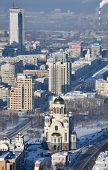 YEKATERINBURG, RUSSIA - JANUARY 2, 2015: Aerial view to the Church on Blood in Honour of All Saints Resplendent in the Russian Land. The church built on the site where Nicholas II was shot