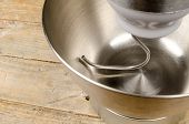picture of food processor  - Steel bowl of a food processor with an attached dough hook - JPG