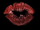 red lips imprint isolated on black background